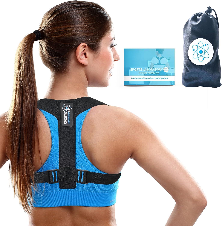 Sports Laboratory PRO+ Corrector de Postura Espalda y Hombros Para Hombre y Mujer Talla Única, Faja para Dolor de Espalda, Chaleco Corrector, Enderezador de Espalda, Gratis Bolsa & eBook