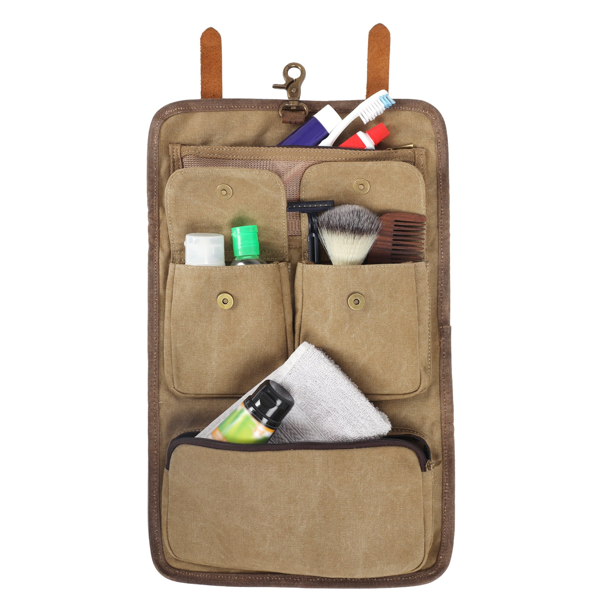 Hanging Canvas Leather Travel Toiletry Bag - Dopp Kit By Rustic Town