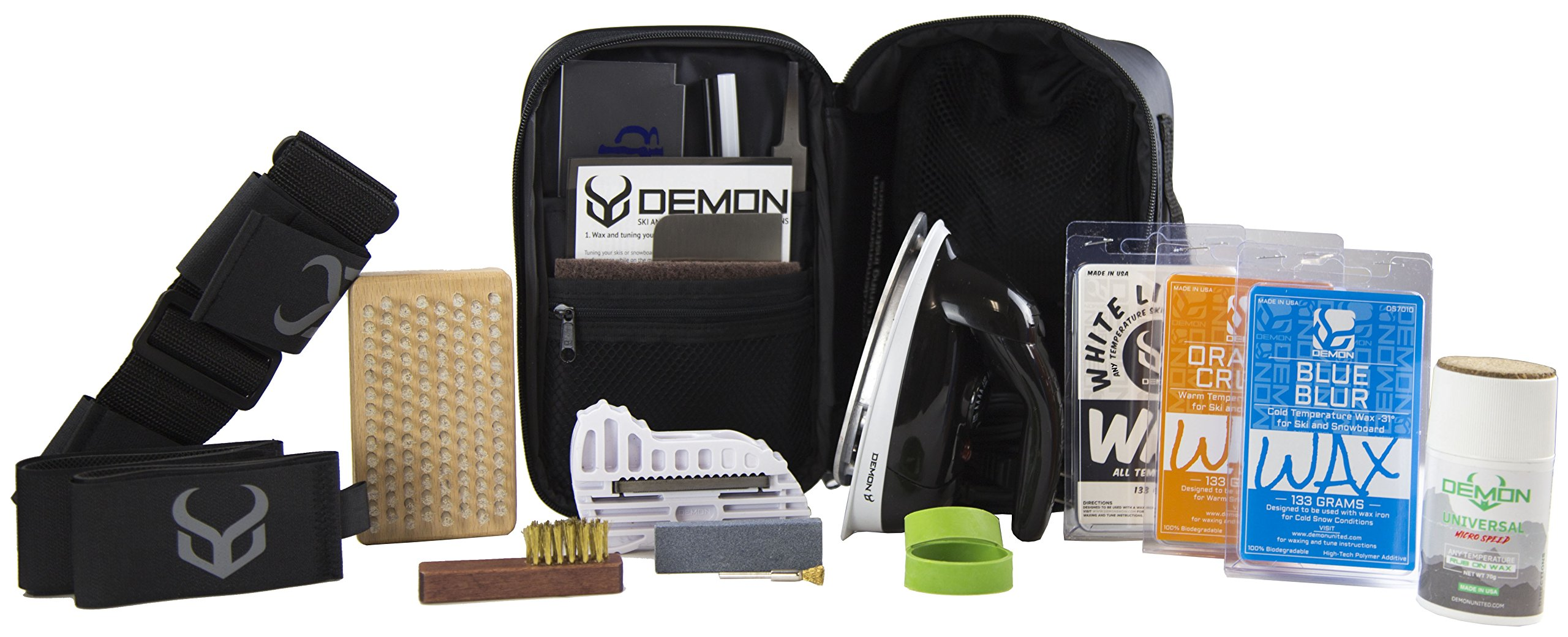 Demon Victory 22 Ski Tune Kit with Iron – Vacation Edition- Includes Ski Straps, Ski Shoulder Carry Harness & Demon Micro Speed Rub On Wax