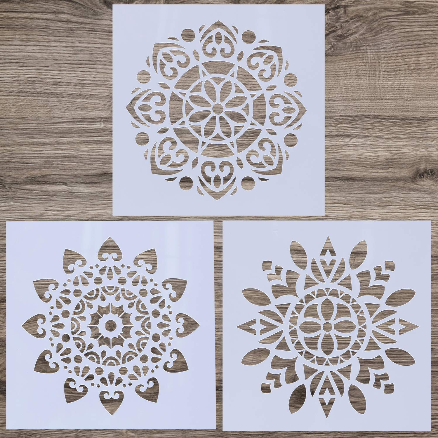 LOCOLO 3 Pieces Mandala Floor Stencil (12x12 inch) Reusable Painting Stencil, Laser Cut Painting Template for DIY Decor Wall Tile Wood Furniture Fabric, Painting on Wood, Airbrush, Rocks by LOCOLO