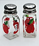Hand Painted Red Apple Salt and Pepper Glass Shaker Set