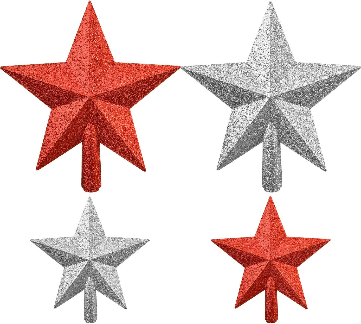 Boao 4 Pieces Glitter Star Tree Topper Christmas Tree Toppers Decorations for Xmas Tree Decoration, 2 Sizes (Red and Silver)