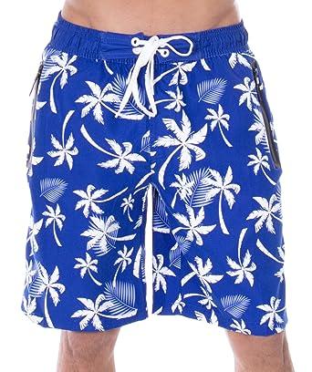 d863512824 Zenco Men's Mark Tropical Print Elastic Waistband Swim Trunks, Blue, S:  Amazon.in: Clothing & Accessories