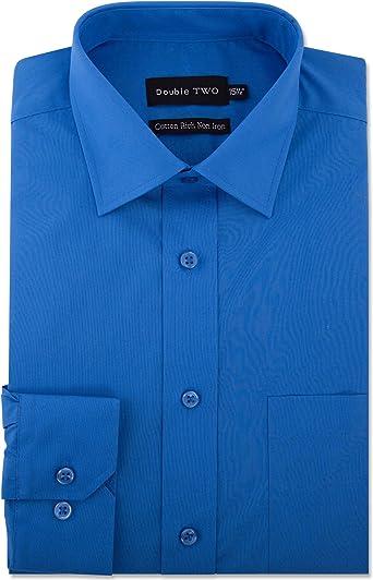 Double Two Hombre Largo con Mangas sin Plancha de Algodón Camisas (4500) In Collar Size 14.5 To 18 Pulgadas, Oscuro Colores - Cobalto, (Collar 22 / ...