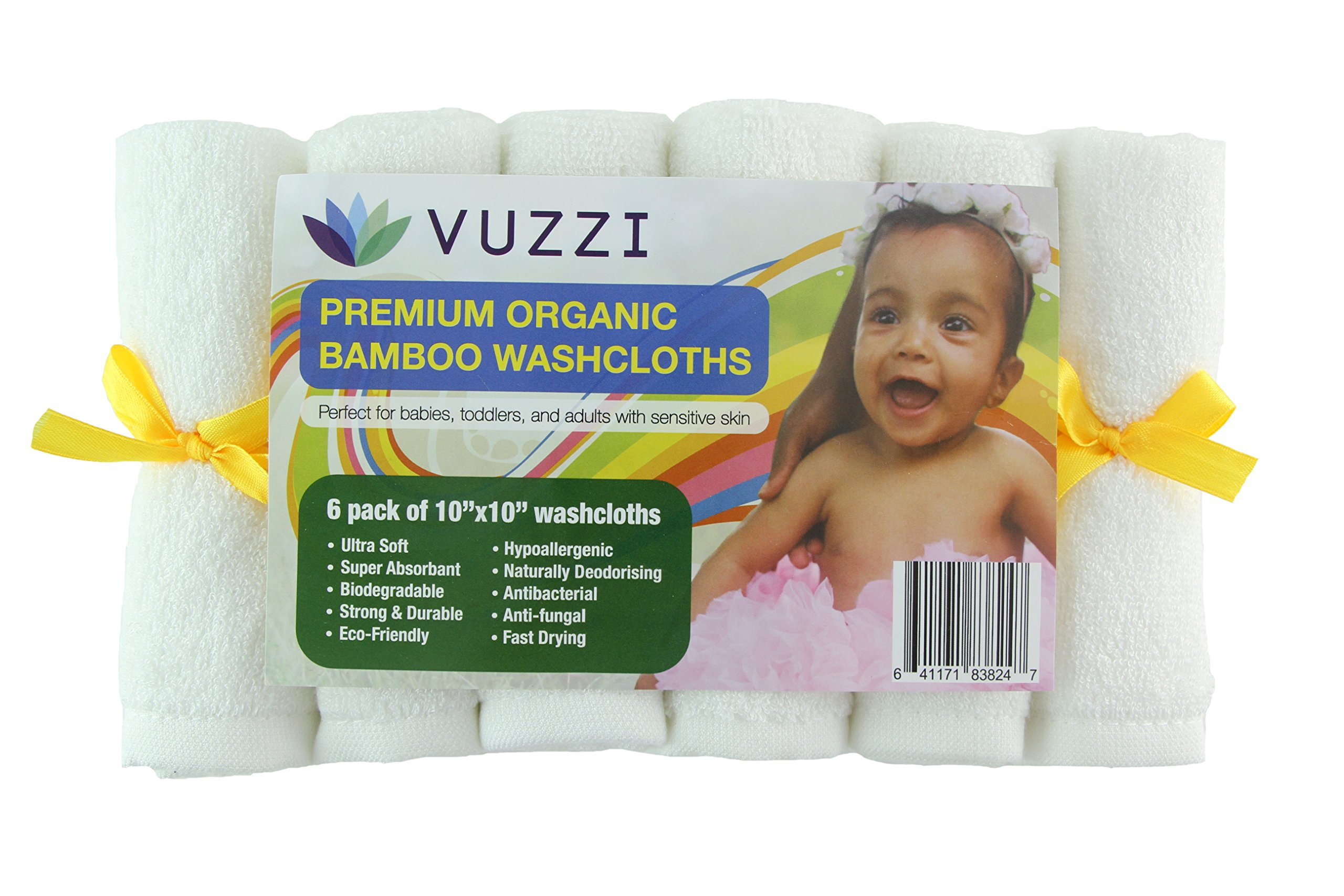 Organic Baby Washcloths (6 Pack) - Large 10''x10'', Premium, Ultra Soft, Super Abosorbant, Dual Sided, Reusable, Hypoallengenic, Perfect for Sensitive Skin by Vuzzi