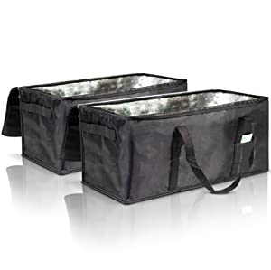 """Commercial Insulated Food Delivery Bags Set of 2-22"""" x 10"""" x 10"""" Waterproof Delivery Bags for Hot Food Delivery - Premium Food Warmer Bags for Uber Eats and Doordash Food Delivery"""