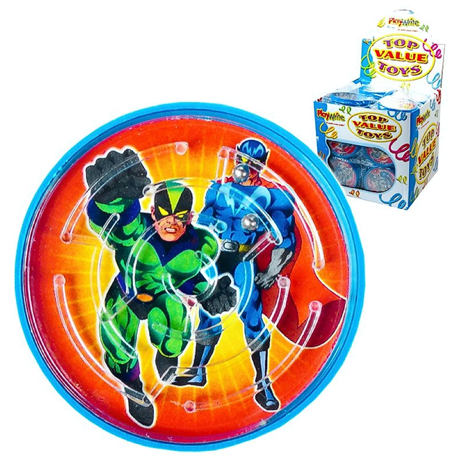 10 x Childrens Kids Superhero Themed Ball Maze Puzzle Birthday Party Bag Fillers Boys Playwrite