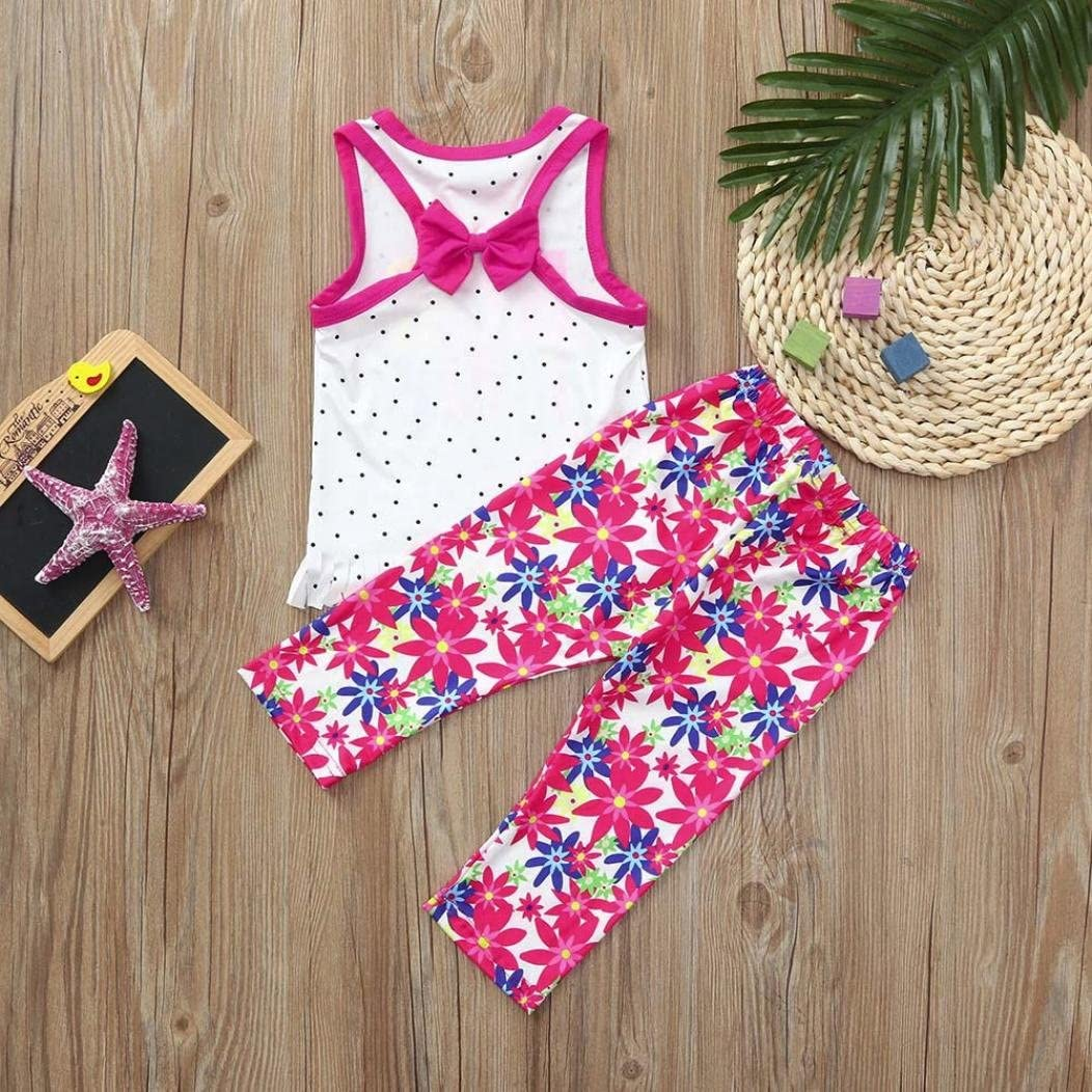 Hot Sales Toddler Kids Baby Girls Letter Print Sleeveless Tops Flora Print Pants Outfits Summer Pajamas Homewear Sets for 0-4 Years Old TM Age: 0-12 Months Jchen