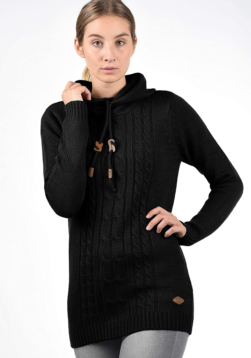 1c919a068edcfd ... DESIRES Cable Damen Winter Strickpullover Troyer Grobstrick Pullover  mit Kapuze ...