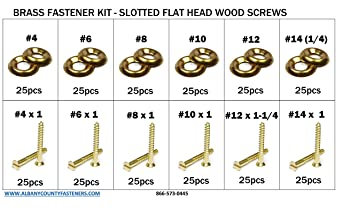 SOLID BRASS SLOTTED FLAT HEAD COUNTERSUNK WOOD SCREWS WOODSCREWS CUP WASHERS