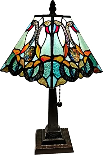 Amora Lighting Tiffany Style Mini Accent Lamp 15 Tall Stained Glass Blue Green Vintage Antique Light D cor Living Room Bedroom Handmade Gift AM253TL08B, Multicolored