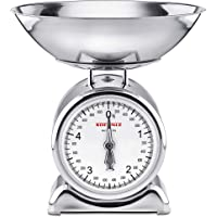 Soehnle Silvia Mechanical Kitchen Scale, Vintage Food Scale withfull View dial, acccurate Gram Scale for Measuring up to 5 kg, weigh Scale with Removeable 1.75L Mixing Bowl (Colour: Silver)