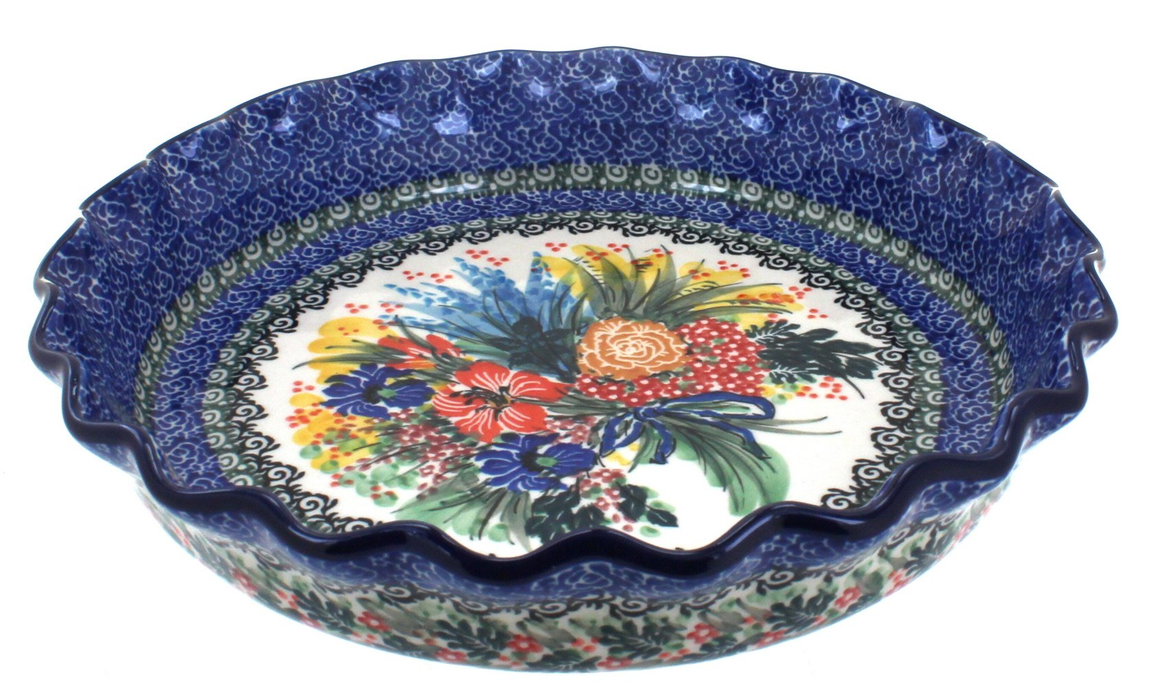 Blue Rose Polish Pottery Summer Blooms Pie Plate
