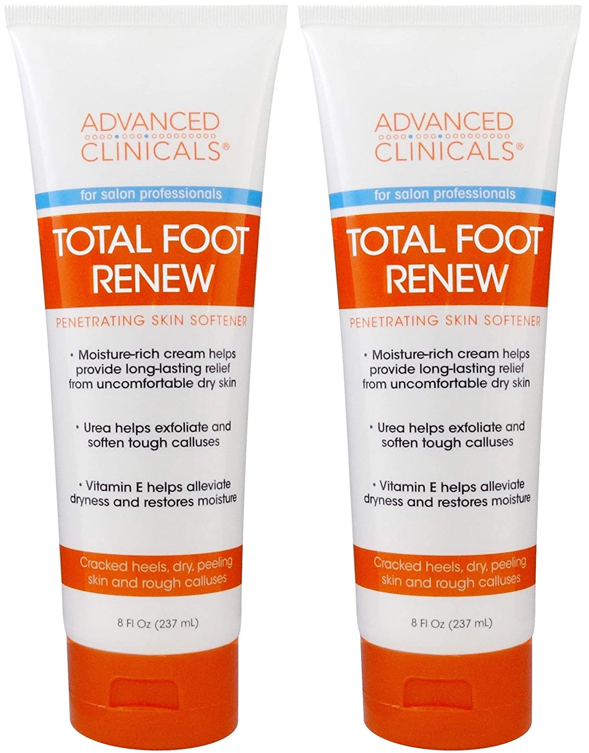 Advanced Clinicals Total Foot Renew Cream- Relief for Dry Itchy Skin, Tough Calluses, Cracked Heel. (Two - 8oz)