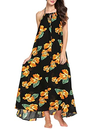 09d0e4106e1 Zeagoo Women Beach Dress Backless Floral Print Casual Maxi Long Sun Dresses  at Amazon Women s Clothing store