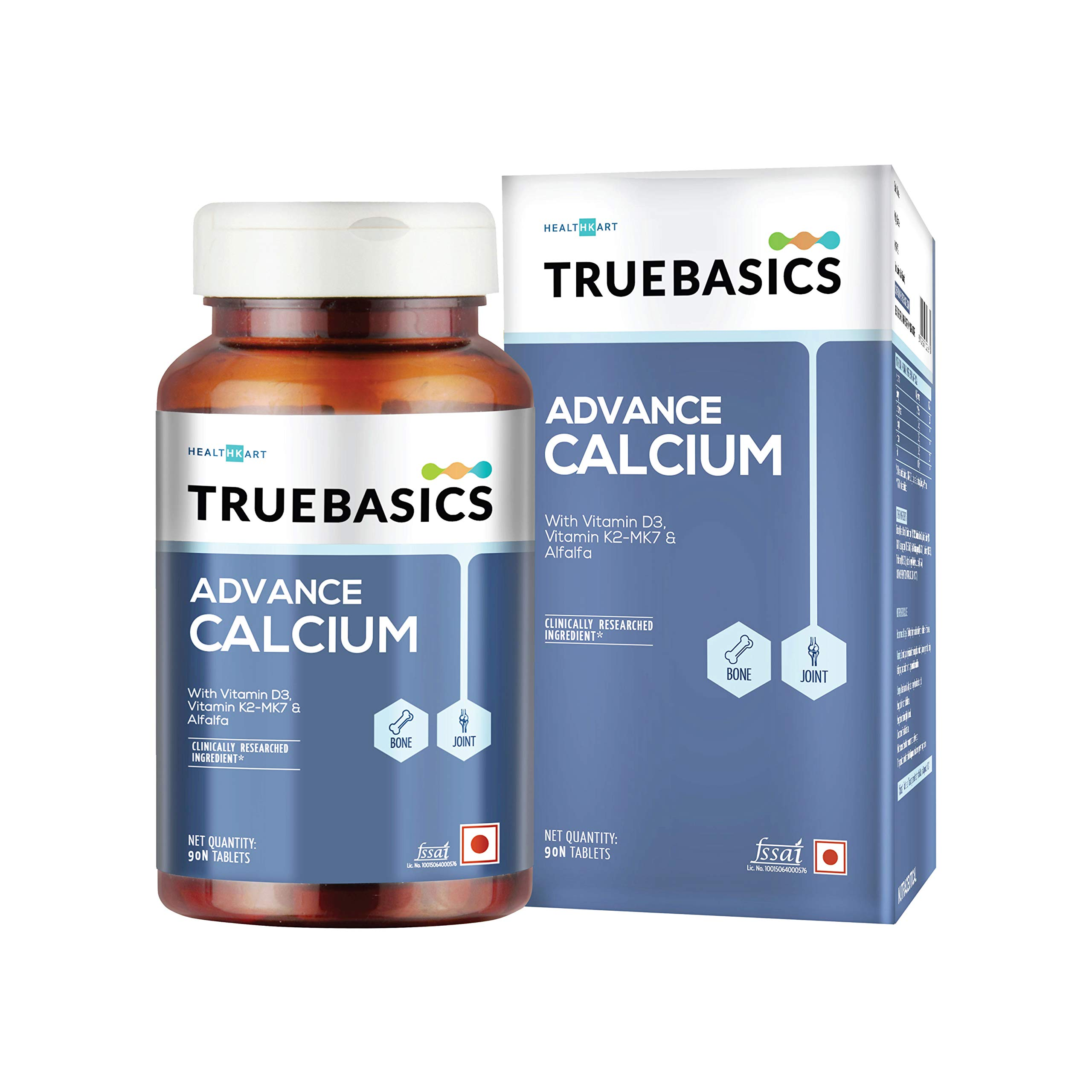TrueBasics Advance Calcium with Vitamin D3, Vitamin K2-MK7, Magnesium, Zinc, Alfalfa | Clinically Researched Ingredient | (Calcium 90 Tablets)