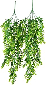 2 Pack Artificial Hanging Boxwood Greenery Garland,Fake Ivy Greenery Garland Vine Garland, 30Inch/Pc Faux Hanging Plant for Wall Front Porch Basket Indoor Outdoor Decor