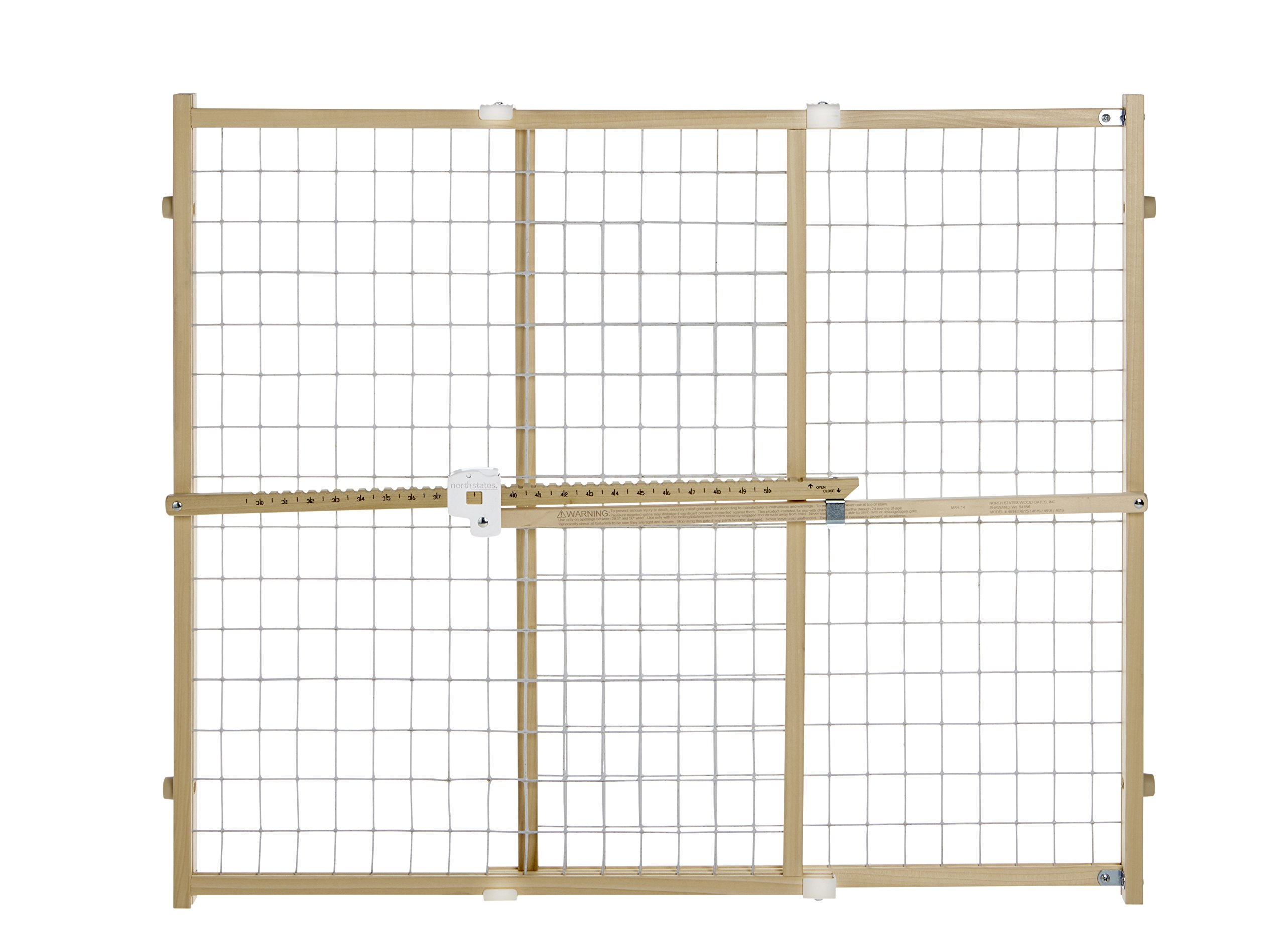 ''Quick-Fit Wire Mesh Gate'' by North States: Hassle-free rachet system ensures a quick custom fit - Ideal tall entries. Pressure mount. Fits openings 29.5'' to 50'' wide (32'' tall, Natural wood)