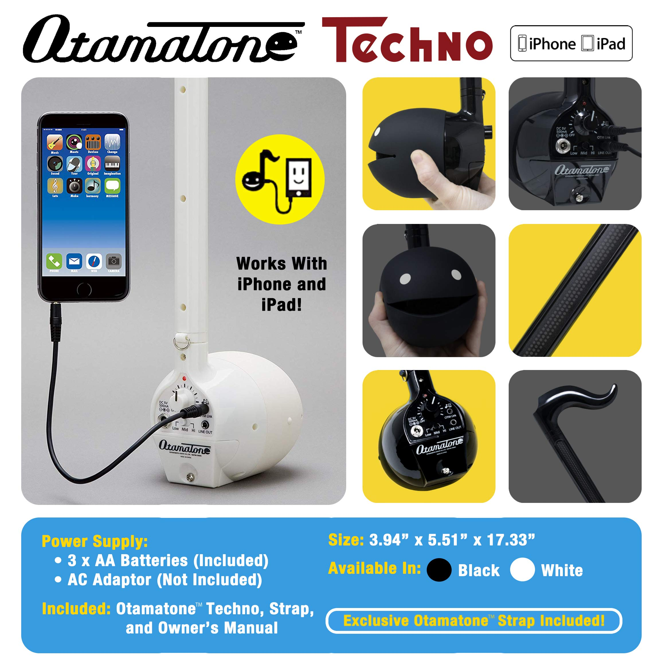 Otamatone ''Techno'' [Japanese Edition] Electronic Musical Instrument Synthesizer [Music Link connect] with a smartphone (iPhone and iPad iOS / Android App) from Japan by Cube / Maywa Denki, White by Otamatone (Image #2)