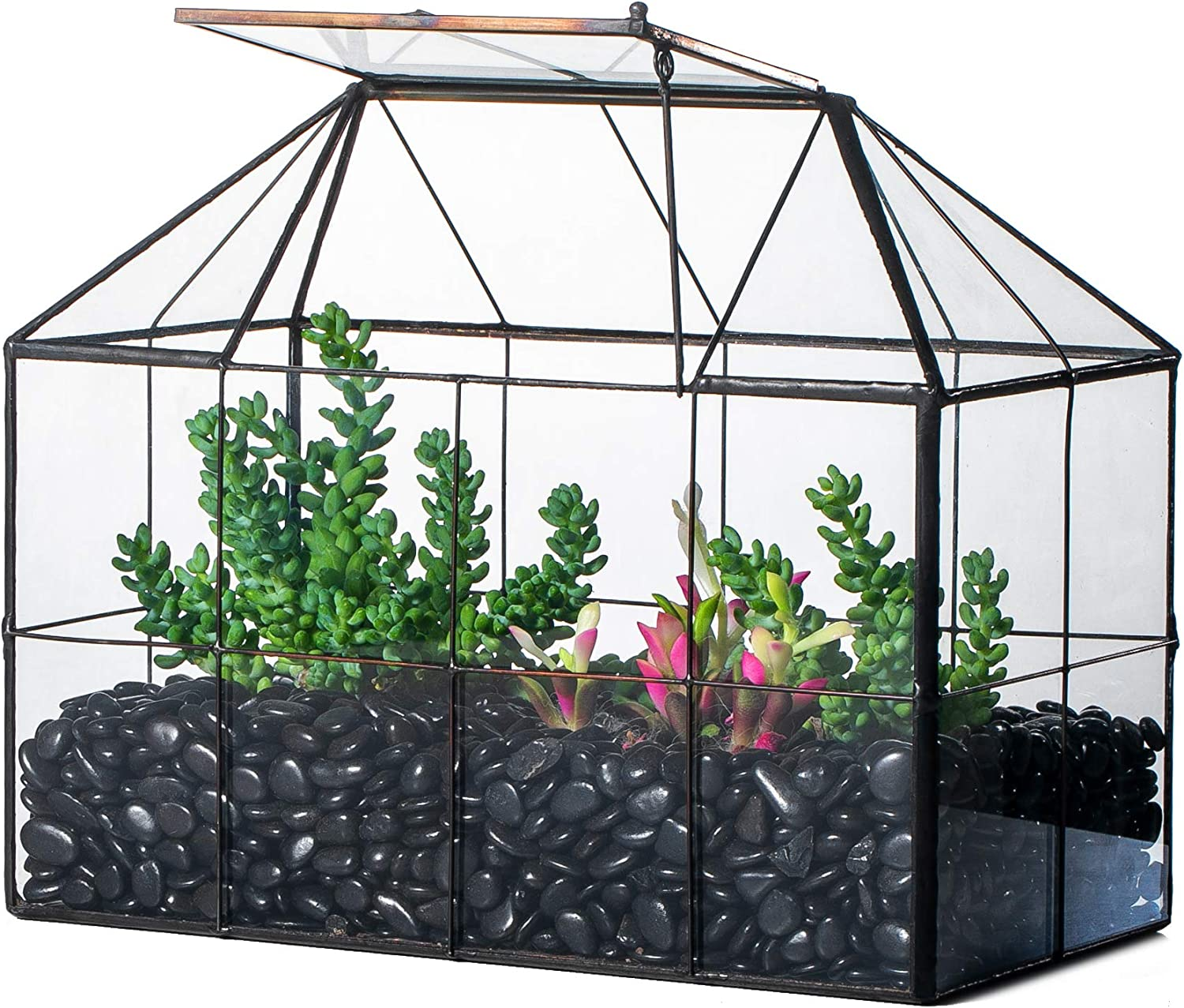 NCYP Reinforced Glass Terrarium Geometric, Black Grid House Shape Decor, Succulents Cacti Air Plants Box Planter, Miniature Container, Modern Tabletop Centerpiece (No Plants)