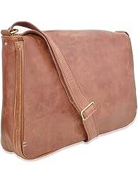 V-élan Men's Vintage Leather Messenger Bag with Laptop Sleeve 12H x 3.50D x 16W inches Cognac