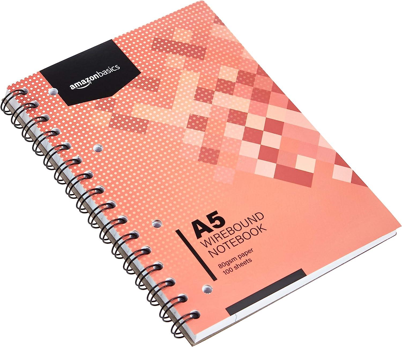 80 g//m/² Basics Spiral-Notizblock 200 Seiten DIN A5 3 St/ück