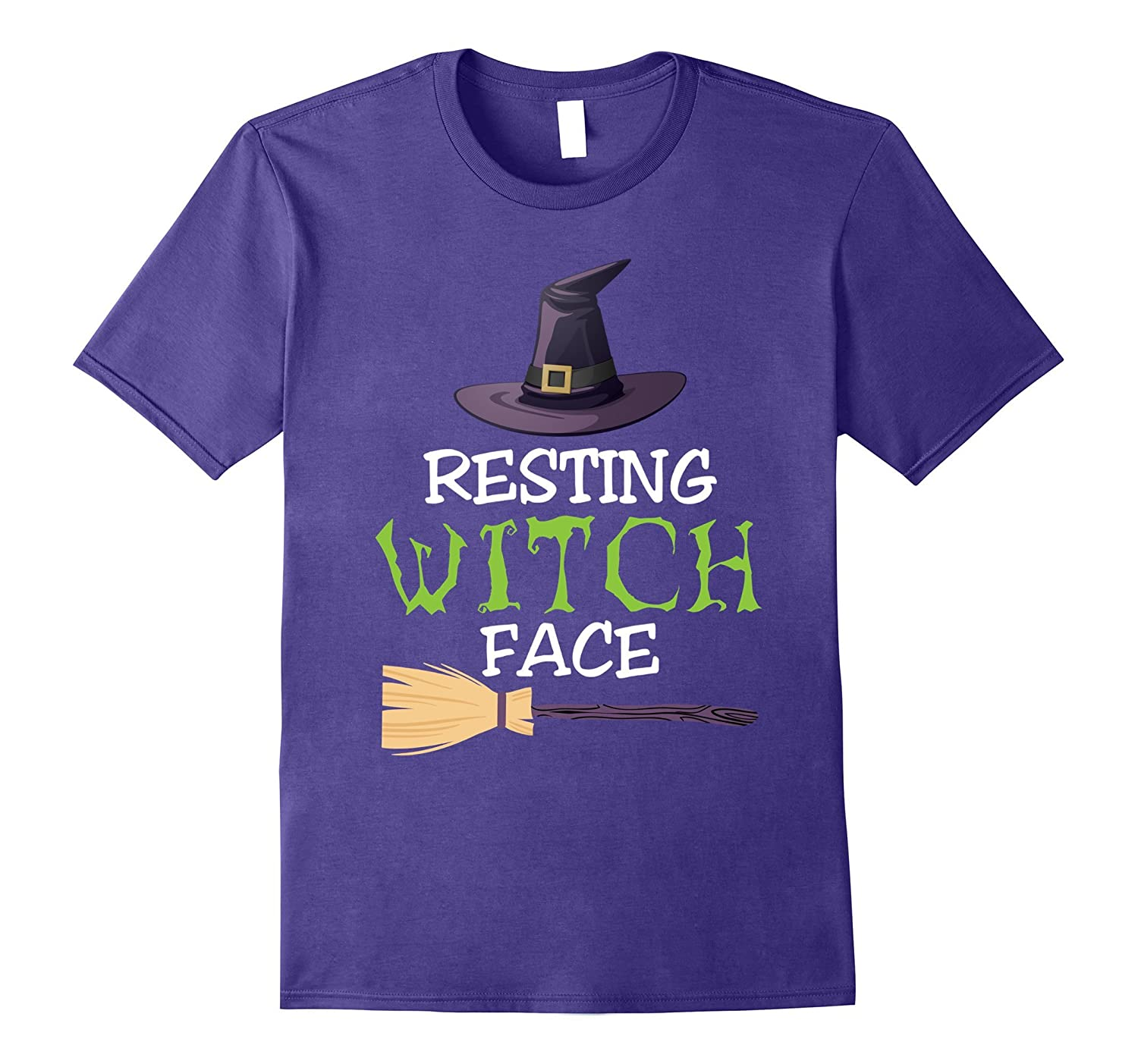 Halloween Shirt Resting Witch Face Broomstick Hat Women Tee-TJ