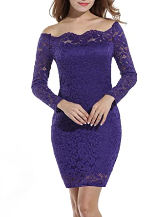 0220eca22c7 Women Ladies Sexy Off-Shoulder Pencil Dress Long Sleeve Floral Package Hip  Mini Lace Party