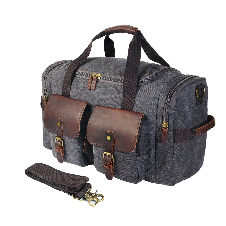 SHANGRI-LA Canvas Travel Duffel Bag Weekend Bag Overnight Bag for Men Women