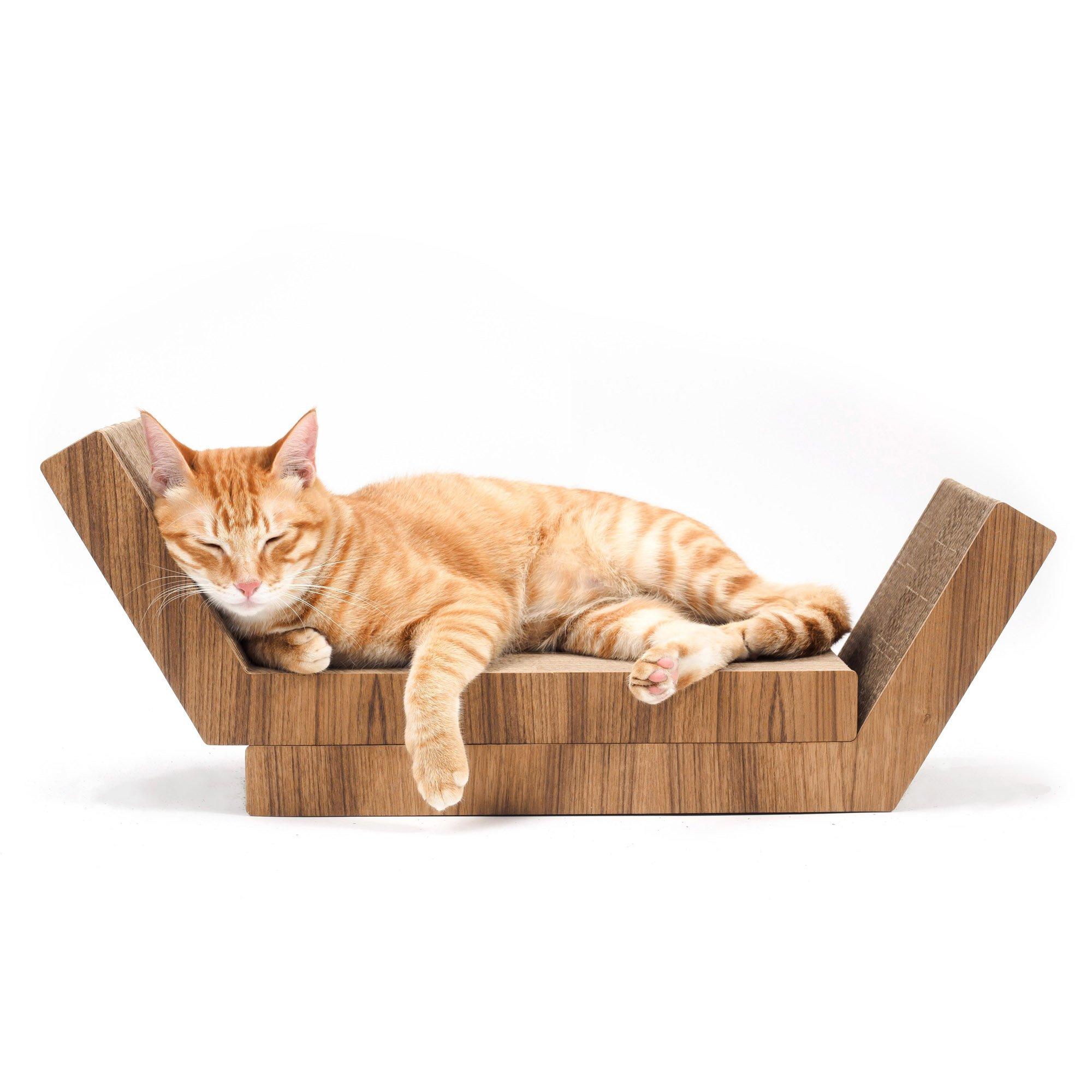 KATRIS Lynks Modular Cat Scratcher - 2 Pack, Real Teak Wood Cover