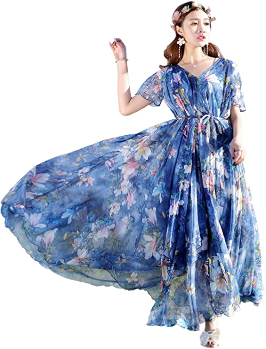 554752a9639 Medeshe Floral Chiffon Long Bridesmaid Maxi Dress With Sleeves (Blue  Floral