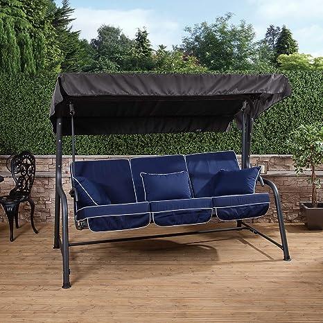 Balancín de jardín Turin con asiento reclinable de 3 plazas – Columpio metálico de jardín con hamaca - Marco color carbón con cojines de lujo en una variedad de colores.: Amazon.es: Jardín