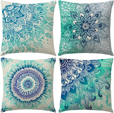 Amazon Com 4pack Bohemian Decorative Throw Pillow Covers Water Color Mandala Pattern Pillowcases Square Home Decorative Floral Cushion Covers 18 X 18 Inch For Sofa Bedroom Car Outdoor Cushions Blue Mandala Home