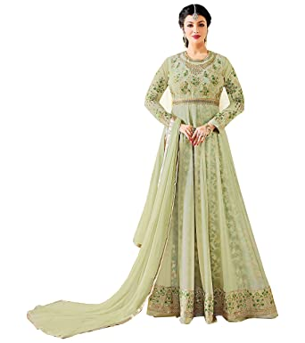 a0b10547f8 Stylish Fashion Ayesh takia Designer Olive Green Embroidered Floor Length  anarkali suit: Amazon.in: Clothing & Accessories