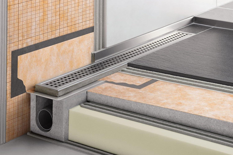 Rejilla para ducha con L italiana salida horizontal kerdi-line-h – Kit de desagüe de acero inoxidable longitud 70 cm, altura 40 cm: Amazon.es: Bricolaje y herramientas