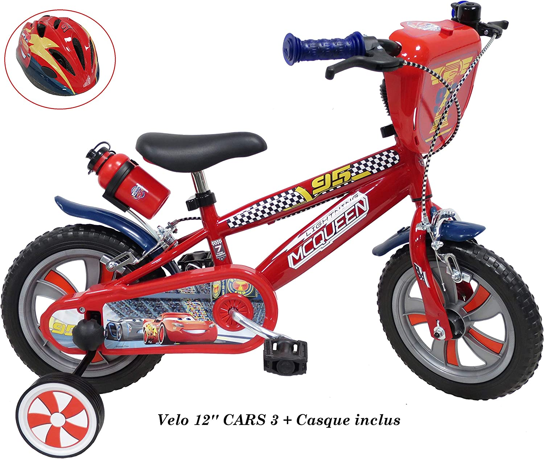 Bicicleta de 12 Pulgadas Cars de 3 Pulgadas para niños de 2 a 4 años (de tamaño < 95 cm) + Casco de Cars Incluido.