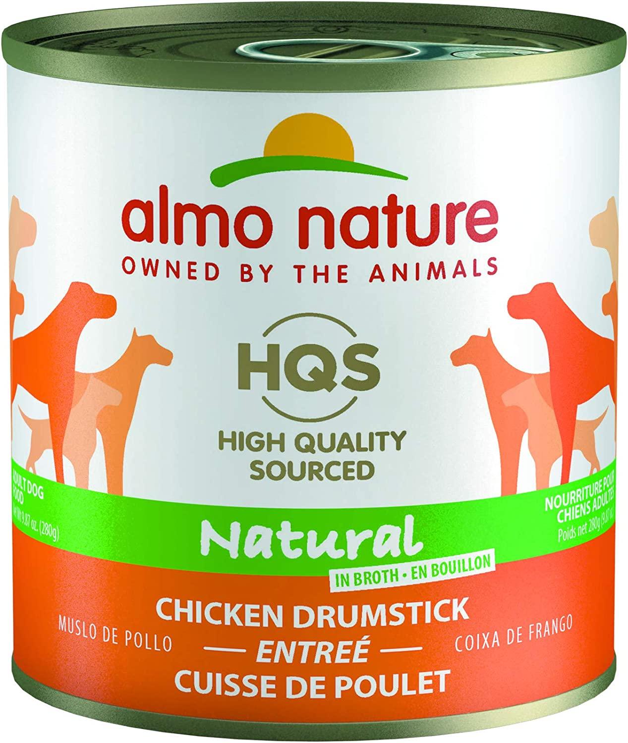 almo nature HQS Natural Chicken Drumstick, Additive Free, Gluten Free, Adult Dog Canned Wet Food, Shredded. (2201)