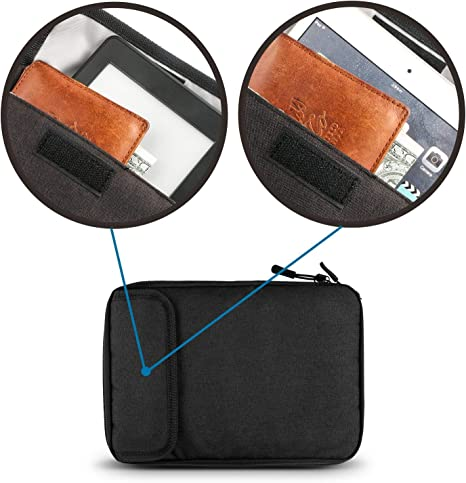 Black Travel Cable Organizer Bag Waterproof Electronic Accessories Soft Case with 5pcs Cable Ties for USB Drive Phone Charger Headset Wire SD Card Power Bank