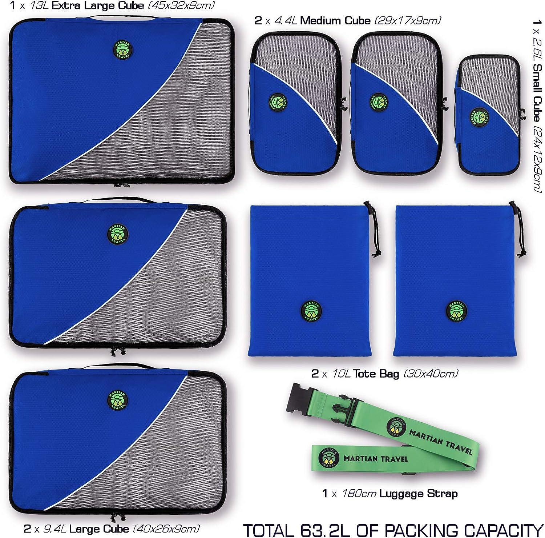 Martian Travel Organiseurs de Bagage Sacs Rangement de Valise Voyage Alv/éoles Ajour/ées A/ération Lot de 8pcs Bleu
