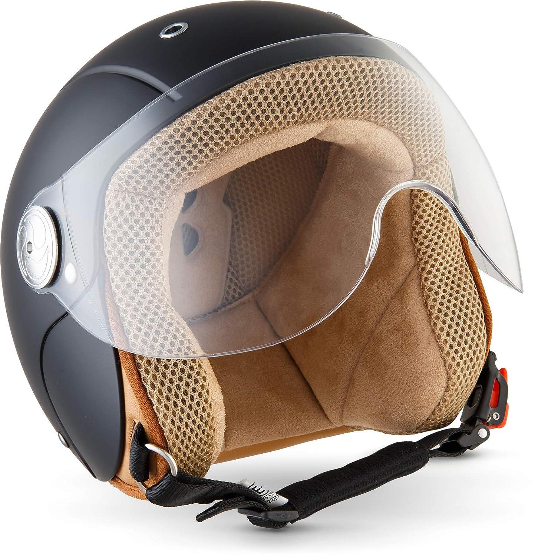 SOXON SK-55 Kids Night · Vintage Motorcycle-Helmet Pilot Jet-Helmet Mofa Chopper Retro Vespa-Helmet Kids-Helmet Cruiser Kids Scooter-Helmet Biker Bobber Kids Jet-Helmet · ECE certified · incl. Visor · incl. Cloth Bag · Bl