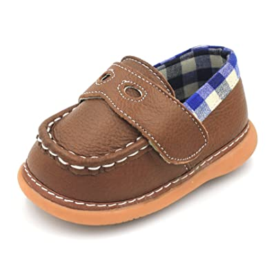 Brown with Blue Plaid Loafer Boy Squeaky Shoes