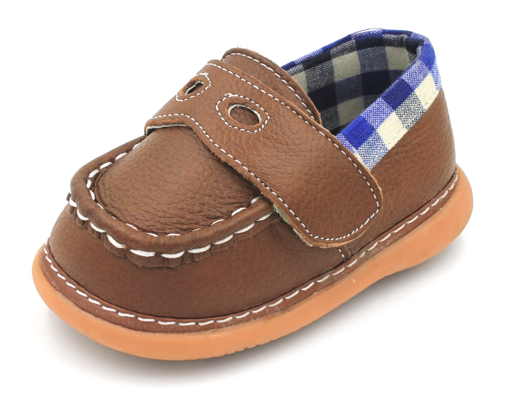 Little Mae's Boutique Brown With Blue Plaid Loafer Boy Squeaky Shoes (3)