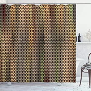 """Ambesonne Earth Tones Shower Curtain, Party Entertainment Theme with Iconic Disco Ball Inspired Pattern Dotted Print, Cloth Fabric Bathroom Decor Set with Hooks, 75"""" Long, Taupe Yellow"""