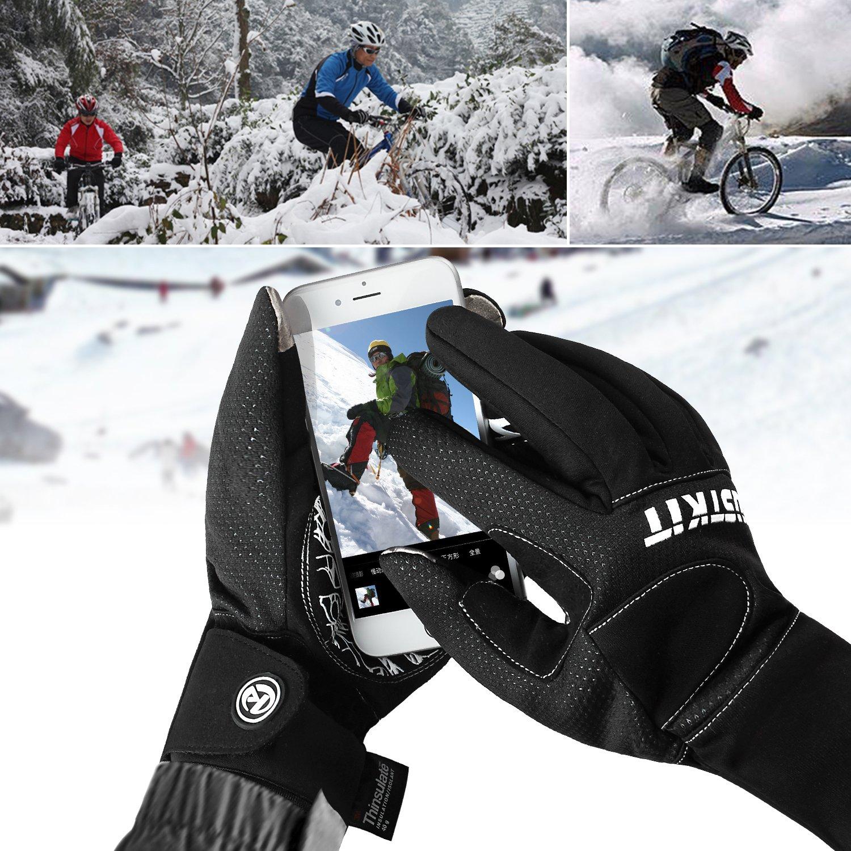 justkit impermeable y cortavientos Handschuhe - 3 M Thinsulate Invierno Touchscreen Coldproof Handschuhe - ligero, fino - para radfahren, jinete, Correr, ...