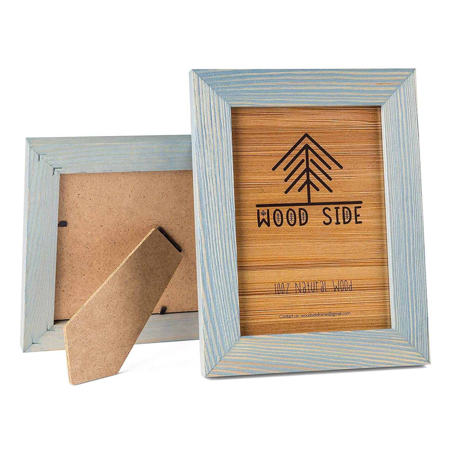 7760764cd303 Amazon.com - Rustic Wooden Picture Frame 5x7 Inch - Blue Turquoise Set of  2-100% Natural Eco Distressed Wood and Real Glass - Made for Wall and Table  Top ...
