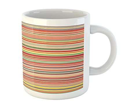 cf3dbc73d6f Ambesonne Abstract Mug Horizontal Colorful. Striped Pattern Color Stripes  Autumn Colors Coffee Mug