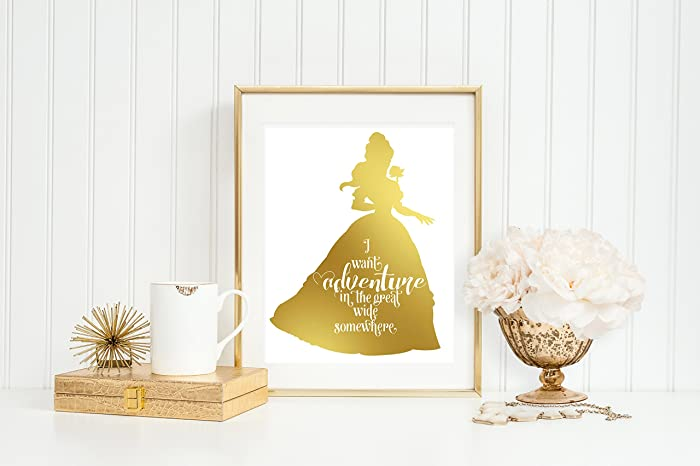 Beauty And The Beast Home Decor | Amazon Com Belle Adventure 8 X 10 Print Gold Foil Home Decor