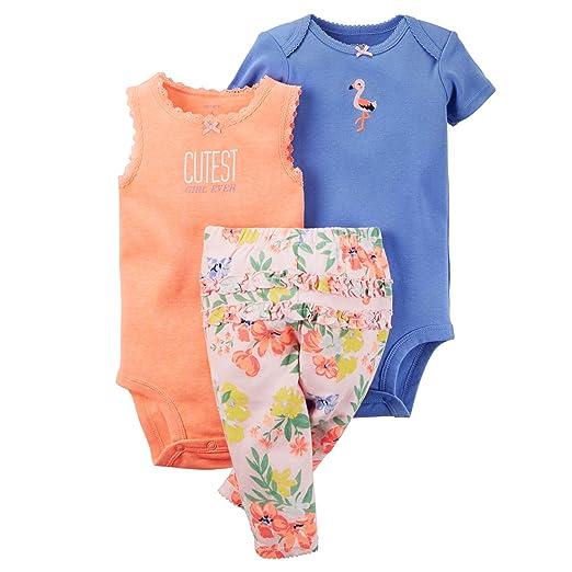 f5d95cb92 Amazon.com: Carter's Baby Girls' 3-Piece Bodysuit & Pants Set: Home ...