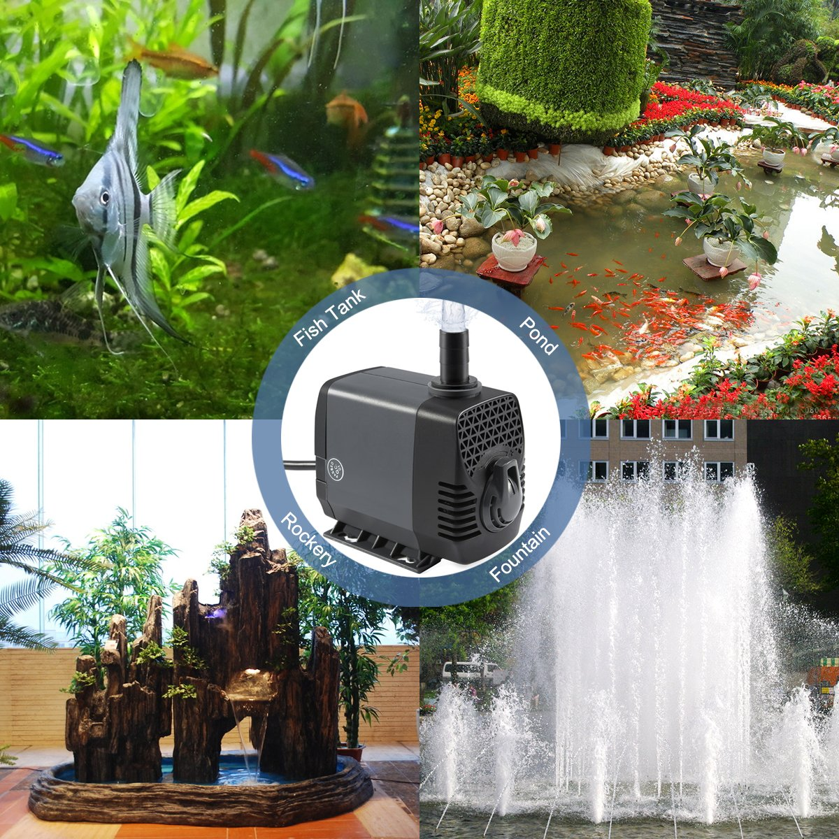 Ankway Upgraded 660GPH(2475L/H, 40W) Submersible Water Pump Humanized Rotation Switch with 3 Nozzles for Pond, Aquarium, Fish Tank Fountain Water Pump Hydroponics, with 5.9ft (1.8M) Power Cord by Ankway (Image #6)