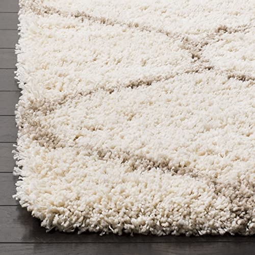 Safavieh Hudson Shag Collection SGH280D Ivory and Beige Moroccan Ogee Plush Area Rug 4 x 6